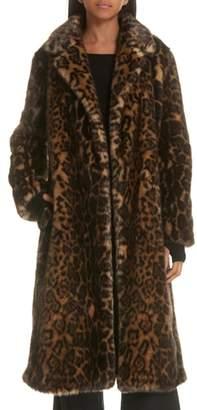 Nili Lotan Marvin Faux Fur Leopard Print Coat