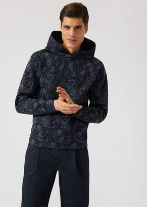 Emporio Armani Jacquard Sweatshirt With Hood And Butterfly Motif