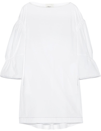 3.1 Phillip Lim 3.1 Phillip Lim - Gathered Brushed Cotton-poplin Dress - White