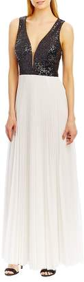 Nicole Miller Women's Deep-V Accented A-Line Pleated Gown - Black-blue, Size 14
