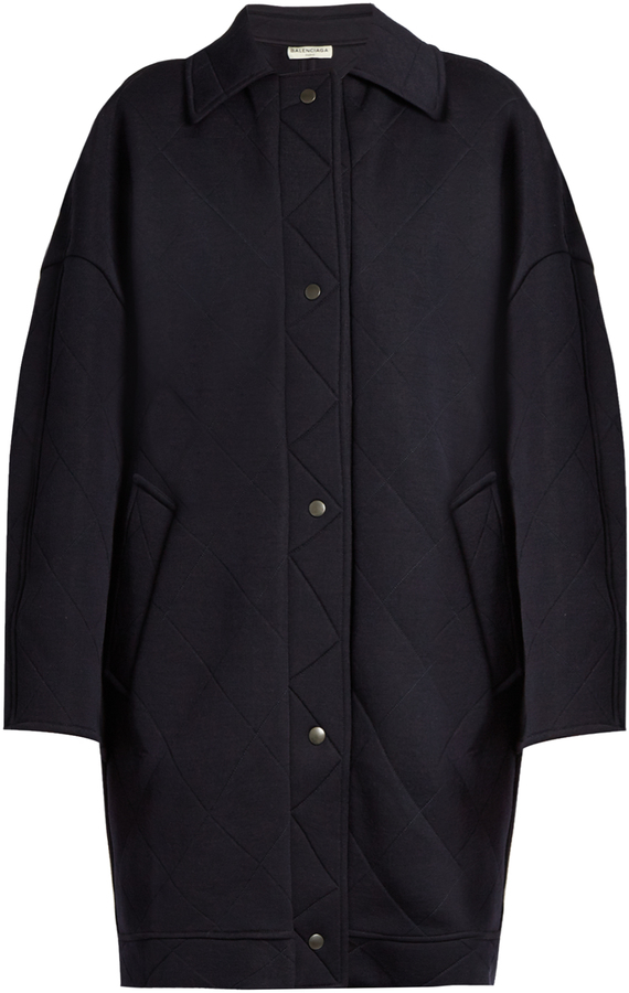 Balenciaga BALENCIAGA Diamond-quilted wool-blend cocoon coat