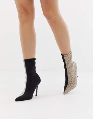0007341dc90 Asos Design DESIGN Esme pointed heeled boots in snake