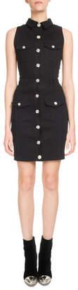 Balmain Sleeveless Button-Front Fitted Denim Dress