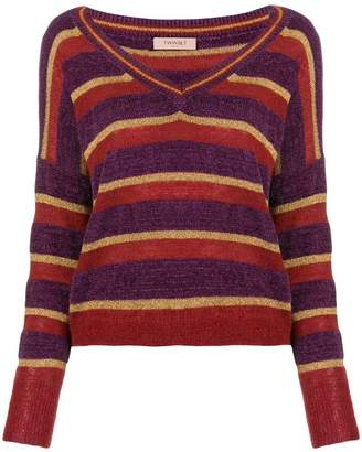 Twin-Set striped V-neck sweater