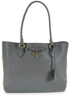 Prada Leather Logo Tote