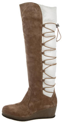 Moncler Moncler Suede Wedge Boots