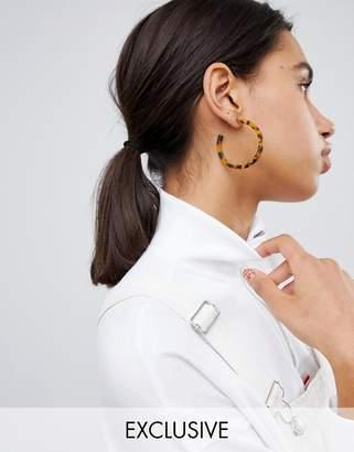 Reclaimed Vintage inspired tort hoop earring
