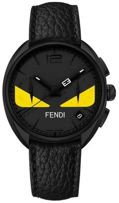 Fendi Monster Chronograph Leather Strap Watch, 40mm