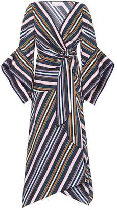 Peter Pilotto Striped cotton wrap dress