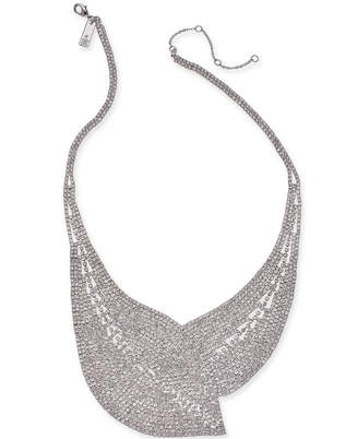 "I.n.c. Woman Silver-Tone Crystal Mesh Statement Necklace, 17"" + 3"" extender, Created for Macy's"