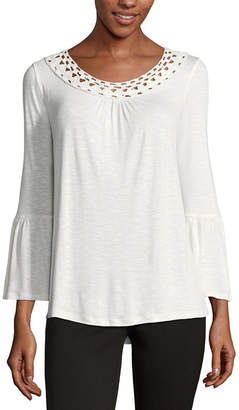 John Paul Richard JOHNPAULRICHARD 3/4 Sleeve Round Neck Knit Blouse
