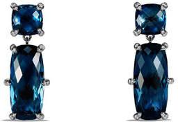 David Yurman Châtelaine Faceted Hampton Blue Topaz Drop Earrings with Diamonds