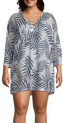 Porto Cruz Leaf Knit Swimsuit Cover-Up Dress-Plus
