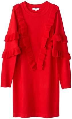 Suncoo Ruffled Short Jumper Dress with Long Sleeves
