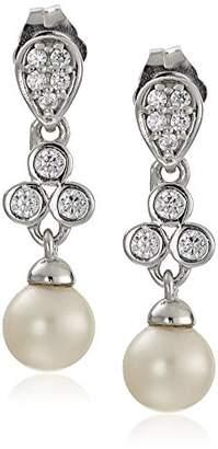 Sterling Silver Cubic Zirconia Freshwater Cultured Pearl Drop Bridal Earrings