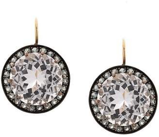 Andrea Fohrman 18kt yellow gold, rock crystal and grey sapphire drop earrings