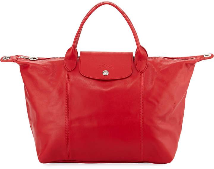 Longchamp Le Pliage Cuir Medium Leather Handbag with Strap - MEDIUM RED - STYLE