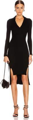 Enza Costa Rib Long Sleeve Step Hem Henley Dress in Black | FWRD