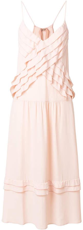 ruffled strappy slip dress
