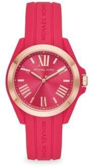 Michael Kors Bradshaw Rose Goldtone Silicone Strap Watch