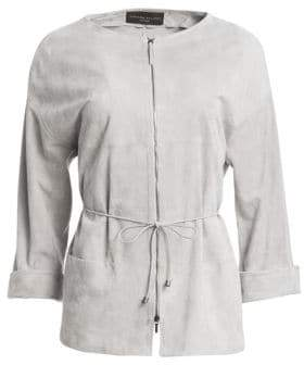 Fabiana Filippi Suede Quarter-Sleeve Zip-Front Jacket