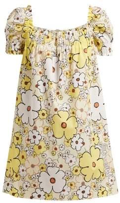 Miu Miu Floral Print Square Neck Cotton Poplin Mini Dress - Womens - Yellow Multi