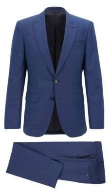 BOSS Hugo Slim-fit three-piece suit in melange virgin wool 38R Open Blue