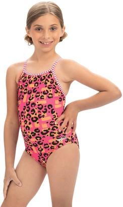 Dolfin Uglies Girls' Rawr Print Keyhole Back 1-Piece Swimsuit