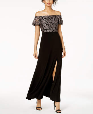 Night Way Nightway Off-The-Shoulder Damask Lace & Solid Gown