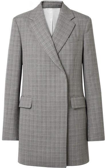 CALVIN KLEIN 205W39NYC - Oversized Glen Plaid Wool Mini Dress - Gray