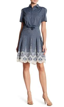 ECI Short Sleeve Embroidered Denim Dress