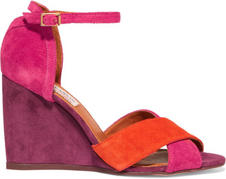 Lanvin Color-block suede wedge sandals $625 thestylecure.com