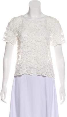 Anine Bing Lace Short Sleeve Top