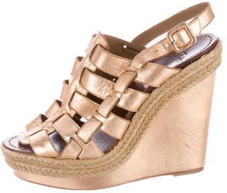 Christian Louboutin Christian Louboutin Metallic Espadrille Wedge Sandals