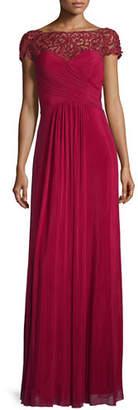 La Femme Cap-Sleeve Beaded Lace-Trim Chiffon Gown