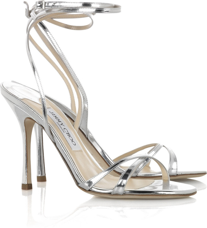 Jimmy Choo Suave mirrored-leather sandals