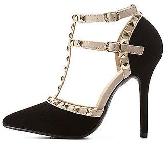 Studded Strappy Pointed Toe Pumps $40.99 thestylecure.com
