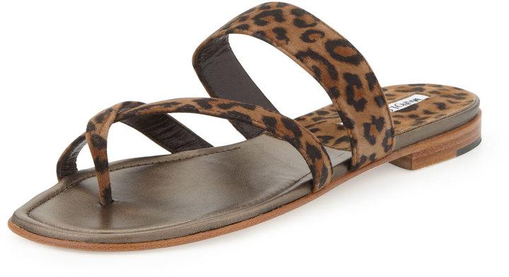 Manolo Blahnik Susa Flat Suede Thong Sandal, Leopard Print
