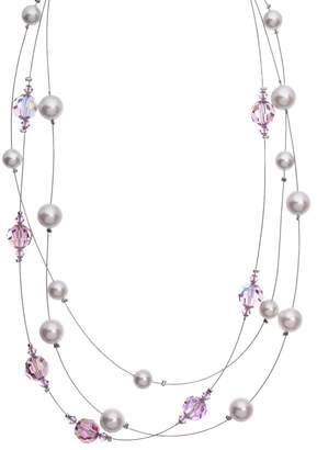 Swarovski Crystal Avenue Silver-Plated Crystal & Simulated Pearl Illusion Necklace - Made with Crystals