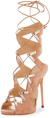 Giuseppe Zanotti Lace-Up Suede High Sandal