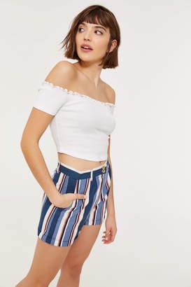 Ardene High Waist Striped Cuffed Linen Shorts