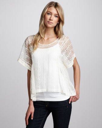 Free People Sheer Lace Boxy Top