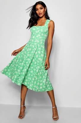 boohoo Floral Print Sqaure Neck Midi Dress