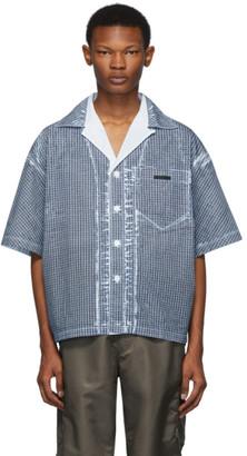 Prada Blue Oversized Overlay Print Shirt
