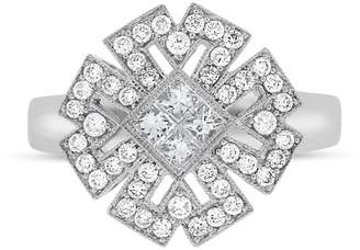 18k White Gold 0.75 Ct. Natural Diamond Cocktail Dressy Filigree Design Ring Size 7.5