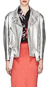 Prada Women's Metallic Leather Moto Jacket - Silver