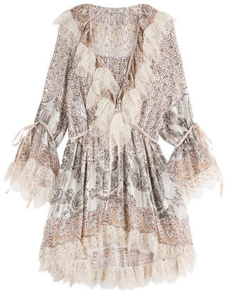 Etro Printed Silk Dress with Lace