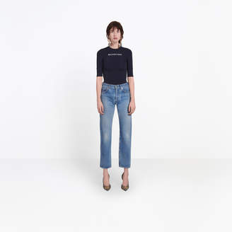 Balenciaga 5-pocket fitted straight leg denim pants