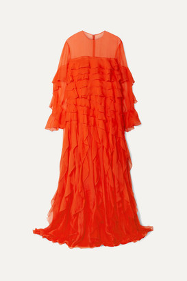 Valentino Ruffled Silk-chiffon Gown - Bright orange