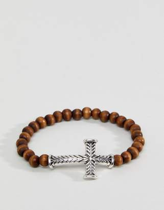 ICON BRAND Brown Beaded Bracelet With Engraved Cross